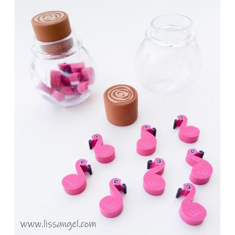 Bottle With Flamingo Mini Erasers