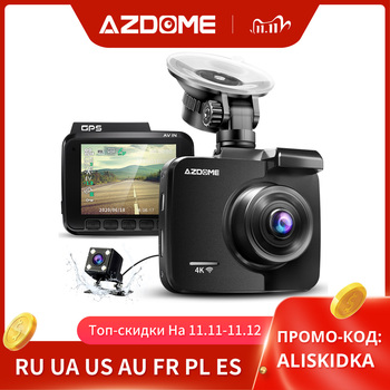 AZDOME GS63H Car Dash Cam 4K HD Dash Camera 170 Degree Wide View Angle With GPS WiFi G-Sensor Loop Recording Parking Monitoring image