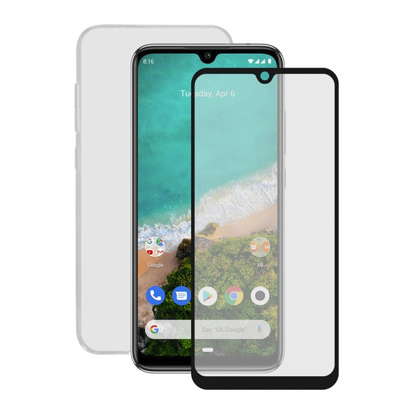 Tempered Glass Mobile Screen Protector + Mobile Case Xiaomi Mi A3 Contact title=