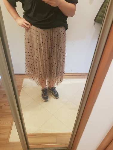 Reversible Tulle Velvet Skirt Women Fashion Spring Elegant Polka Dot Long Skirt Female High Waist Pleated Midi Skirt photo review