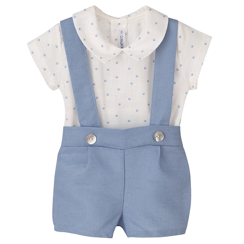 Calamaro, Baby Neck Top Shirt And Light Blue Bib Overalls, 100% Cotton, Sizes: 1-24M, Baby Clothes Summer 2020, Baby Bib Overall