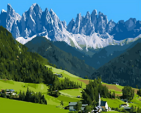 Painting By Numbers PK 33070 Alpine Paradise 40*50