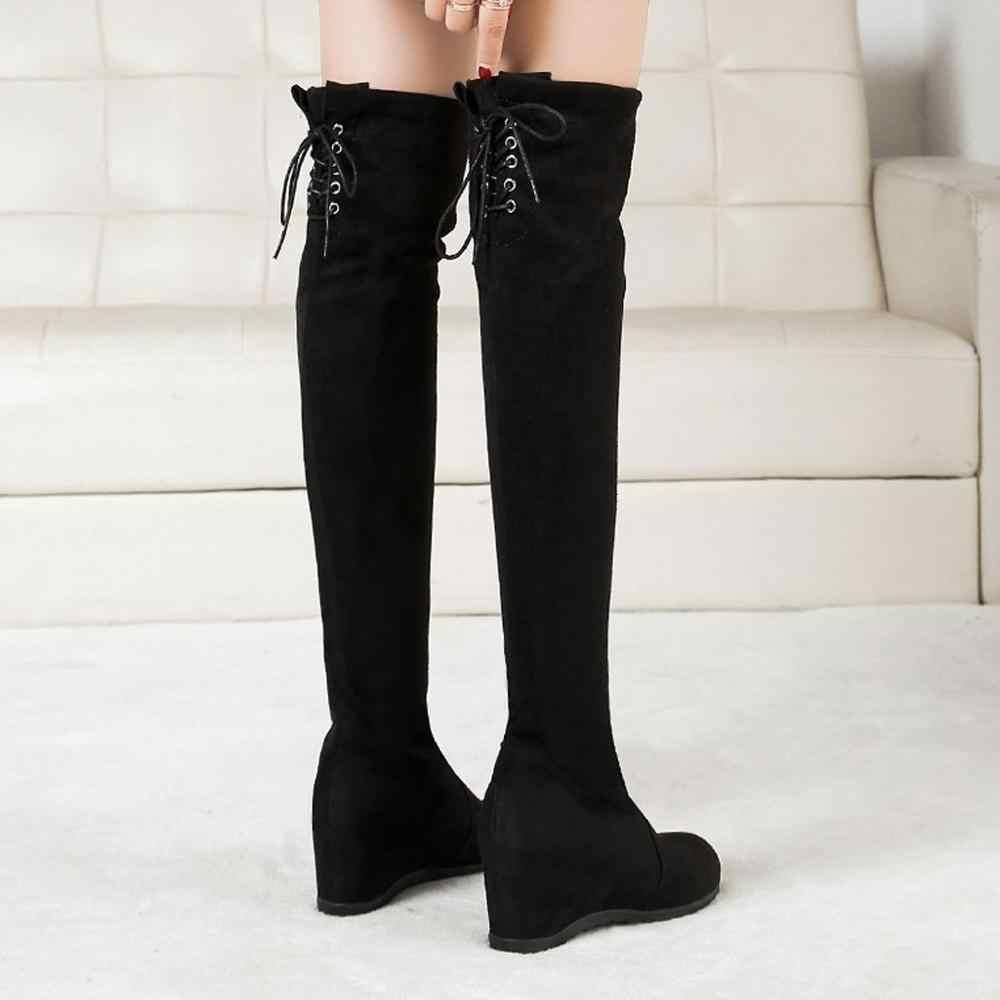 Kadın PU Katı Med Kare Topuk Çizmeler Düz Ayak Bileği Örgü Wools Sıcak Botlar kadınlar bayanlar için Uyar sonbahar ve kış eğlence