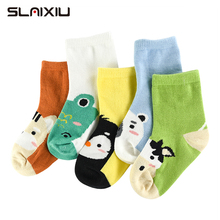 5Pair/lot Soft Cotton Kids Socks Baby Mesh Breathable Cartoo