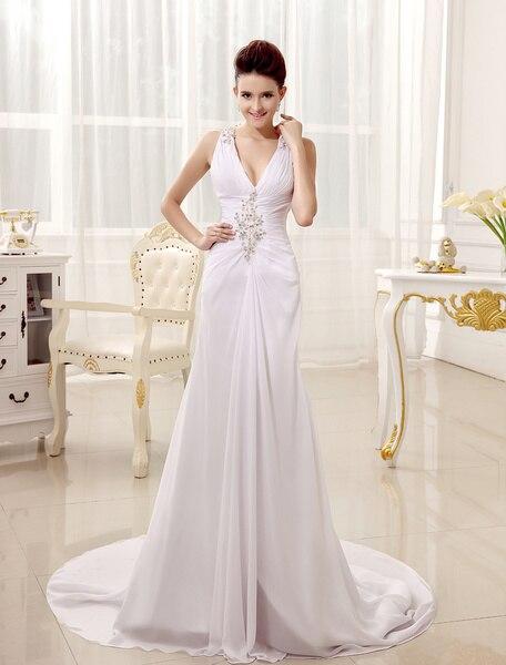 White Sheath V-Neck Pleated Chiffon Bridal Wedding Dress With Backless