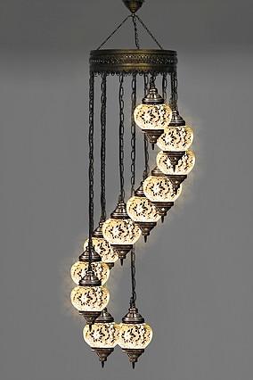 11 GLOBES Turkish Mosaic Lamp Moroccan Mosaic Lighting Hanging Ceiling Lantern Lamp Pendant Light