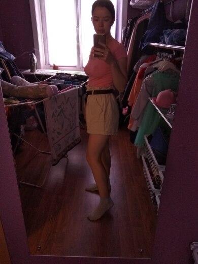 Fashion Harajuku Plus Size Shorts For Women Summer Elastic High Waist Short Femme Cuffs Wide Leg With Belt Cotton Ladies Shorts photo review