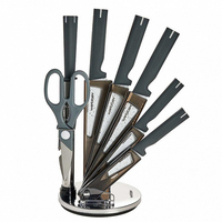 Kitchen knife set antibacterial coating high quality stainless steel acrylic rotating stand 8 items