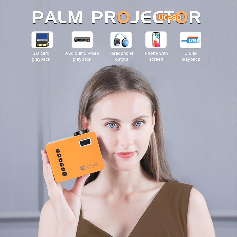 Unic uc28d mini projetor led portátil casa usb telefone móvel 10 ansi 480*272 tf cartão av 5v 2a u disco dvd caixa de tv 3.5mm-4