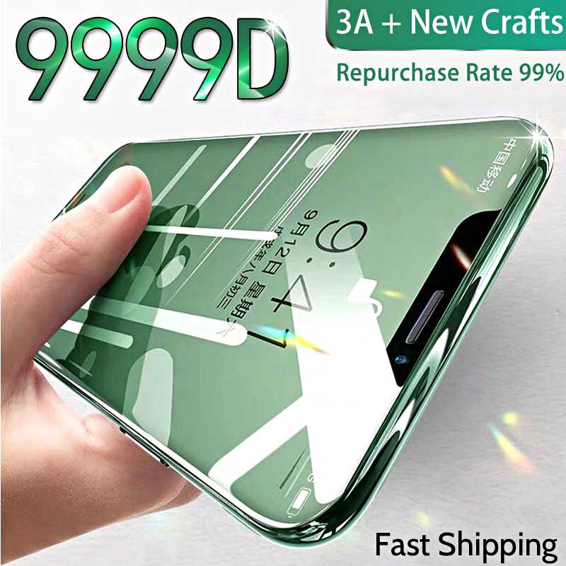 9999D 3A Curved Glass on For iPhone 11 Pro XS MAX XR X Full Cover Screen Protector Tempered Glass For iPhone 10 7 8 6s Plus Film image