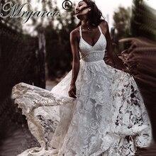 Mryarce ייחודי הכלה רוזה תחרה חתונה שמלת Boho שיק צלב חזור צד סדק שמלות כלה לחתונה בחוץ