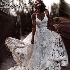 Image 1 - Mryarce Unique Bride Rosa Lace Wedding Dress Boho Chic Cross Back Side Slit Bridal Gowns For Outdoor Wedding