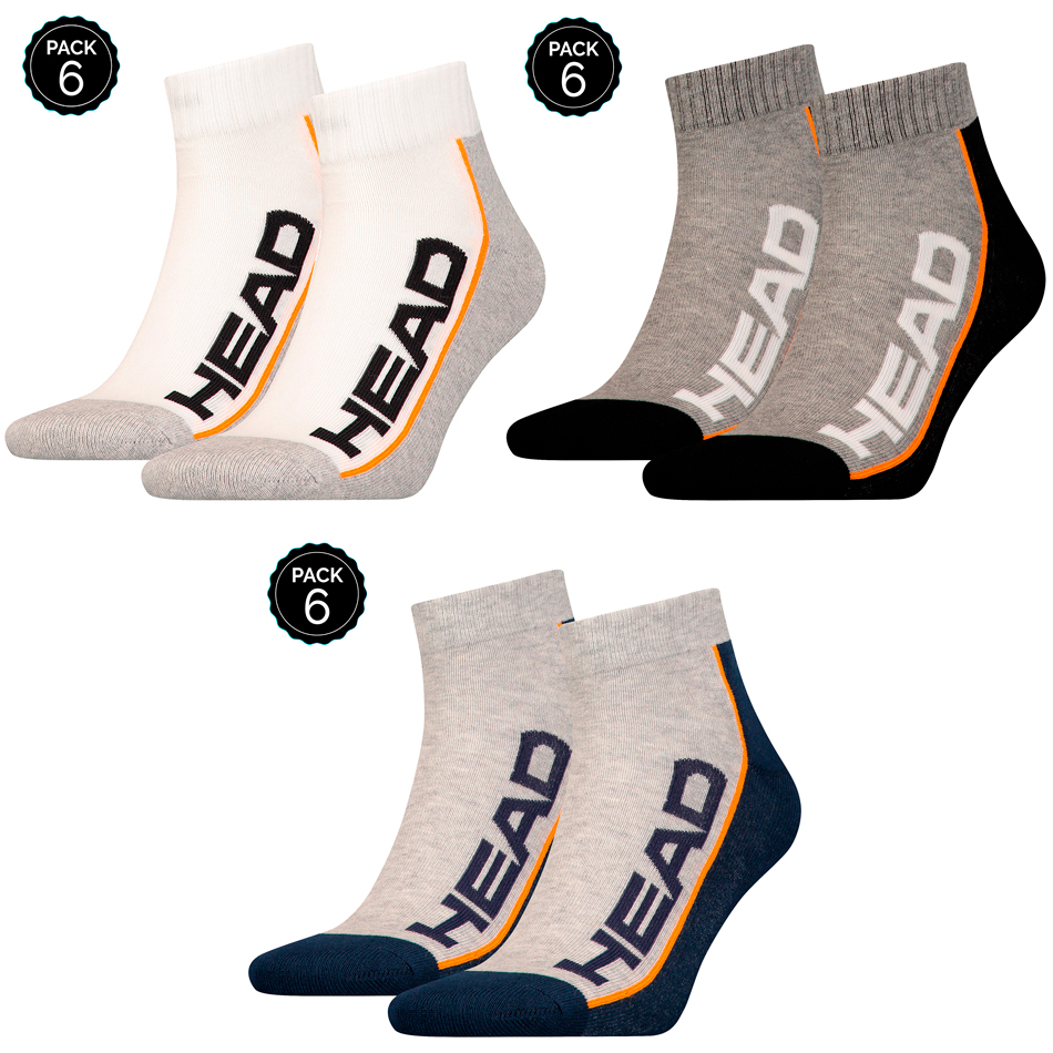 HEAD Sport Socks Ankle Pack To Choose From 6 Pairs In Gray Blank Or Dark Gray Unisex