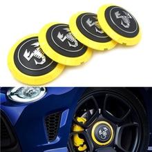 Gzhengtong 4pcs/lot 133mm Yellow Abarth Caps Wheel Center Hub Cap  Covers 04726184AA 53106013 86919 in Scorpion Logo