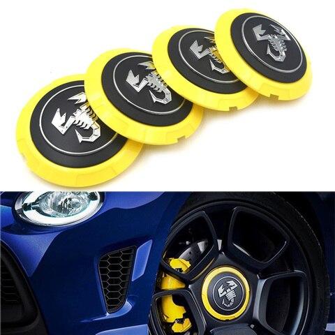 gzhengtong 4 pcs lote 133 milimetros amarelo abarth caps cap hub centro da roda tampas