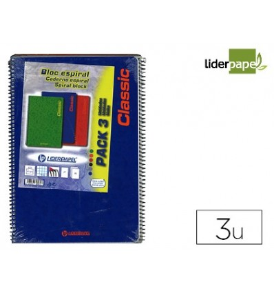 SPIRAL NOTEBOOK LEADERPAPER FOLIO WRITE SOFTCOVER 80H 60 GR FRAME 4MM MARGIN ASSORTED COLORS PACK 3 UNIDADEDE