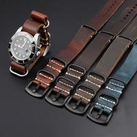 Onthelevel Leder Nato armband 18mm 20mm 22mm 24mm Zulu Band Blau Braun Kaffee Farbe military Stil Bänder