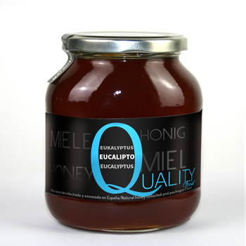Pure Honey honeybee 100%. Raw honey eucalyptus. 1Kg. Origin Spain. No pasteurizar/warm. High quality. CRYSTAL jar.