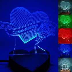 N-074 Heart rose lettering-3D USB led Eco-friendly lamp night light, hand, table night light, home decor,