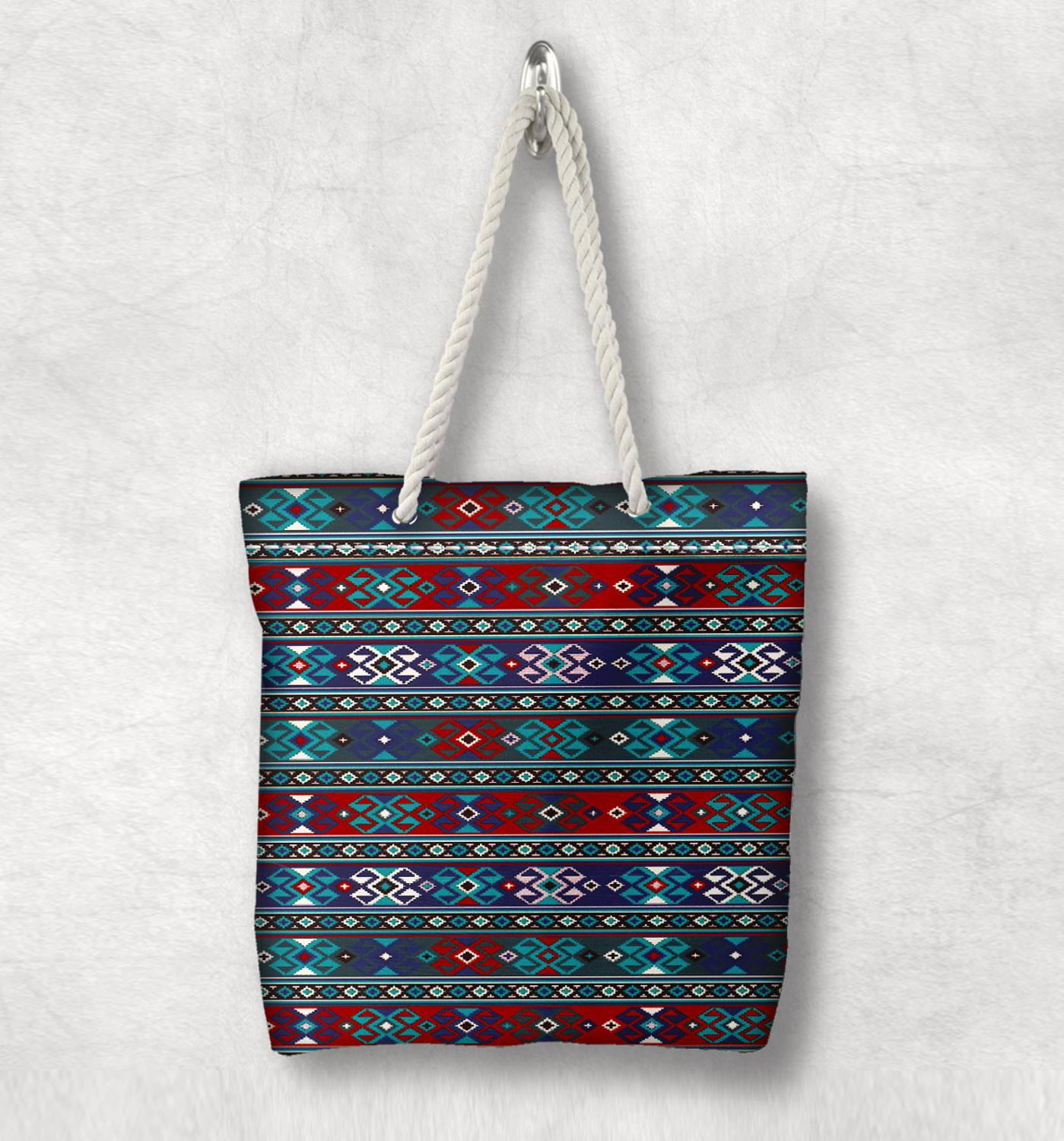 Else Blue Red Vintage Authentic Anatolia  New Fashion White Rope Handle Canvas Bag Cotton Canvas Zippered Tote Bag Shoulder Bag