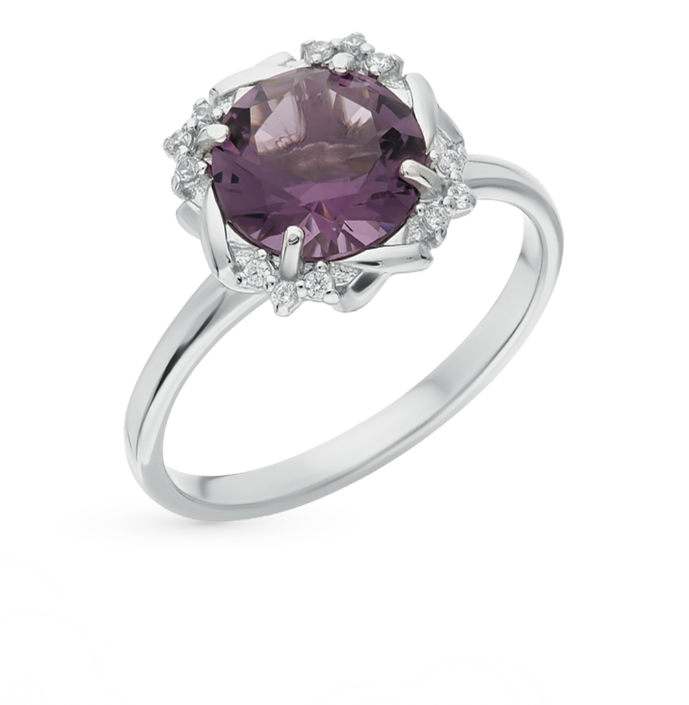 Silver Ring With Amethyst And Cubic Zirconia Sunlight Sample 925