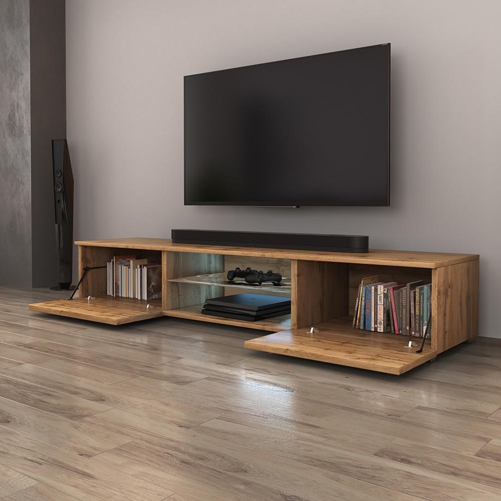 SYVIS - Meuble tv / Banc tv (chêne wotan, 140 cm, éclairage LED) 2