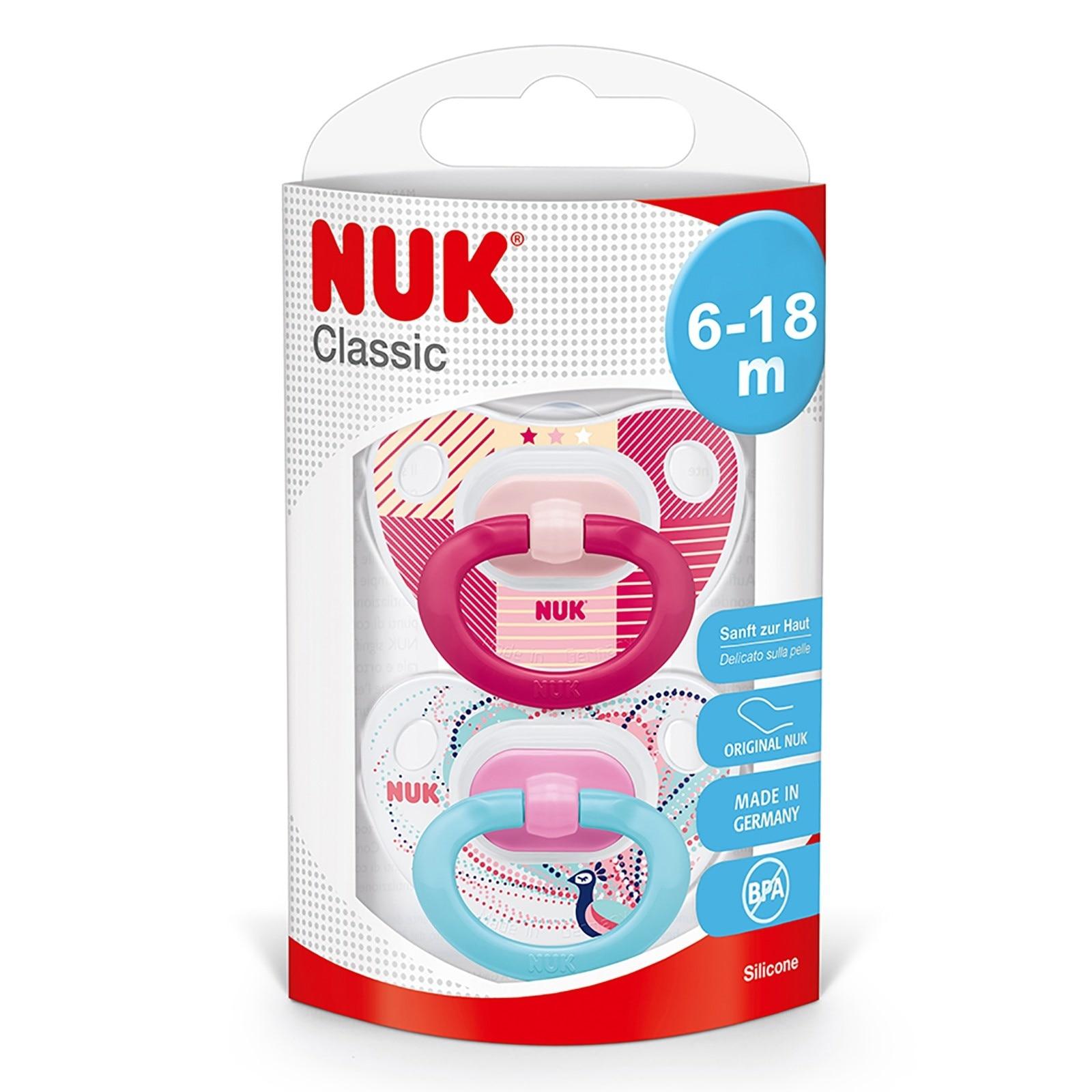 Ebebek Nuk Silicone Classic Baby Pacifier 6-18 Months 2 Pcs