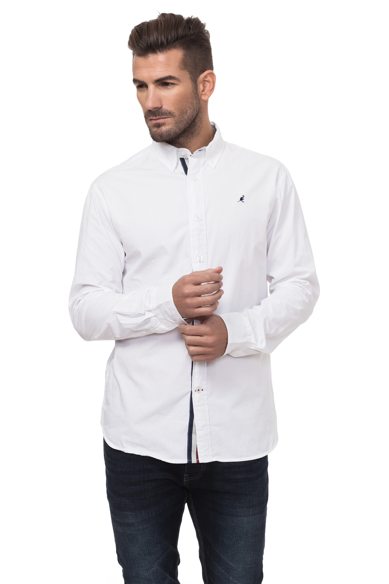 Kangol POPLIN Men Basic Shirt's Men's Color Cotton White KG2G112965AA2ABL-1
