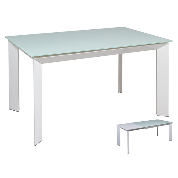 Dining Table (140 X 90 X 76 Cm) Crystal Mdf White