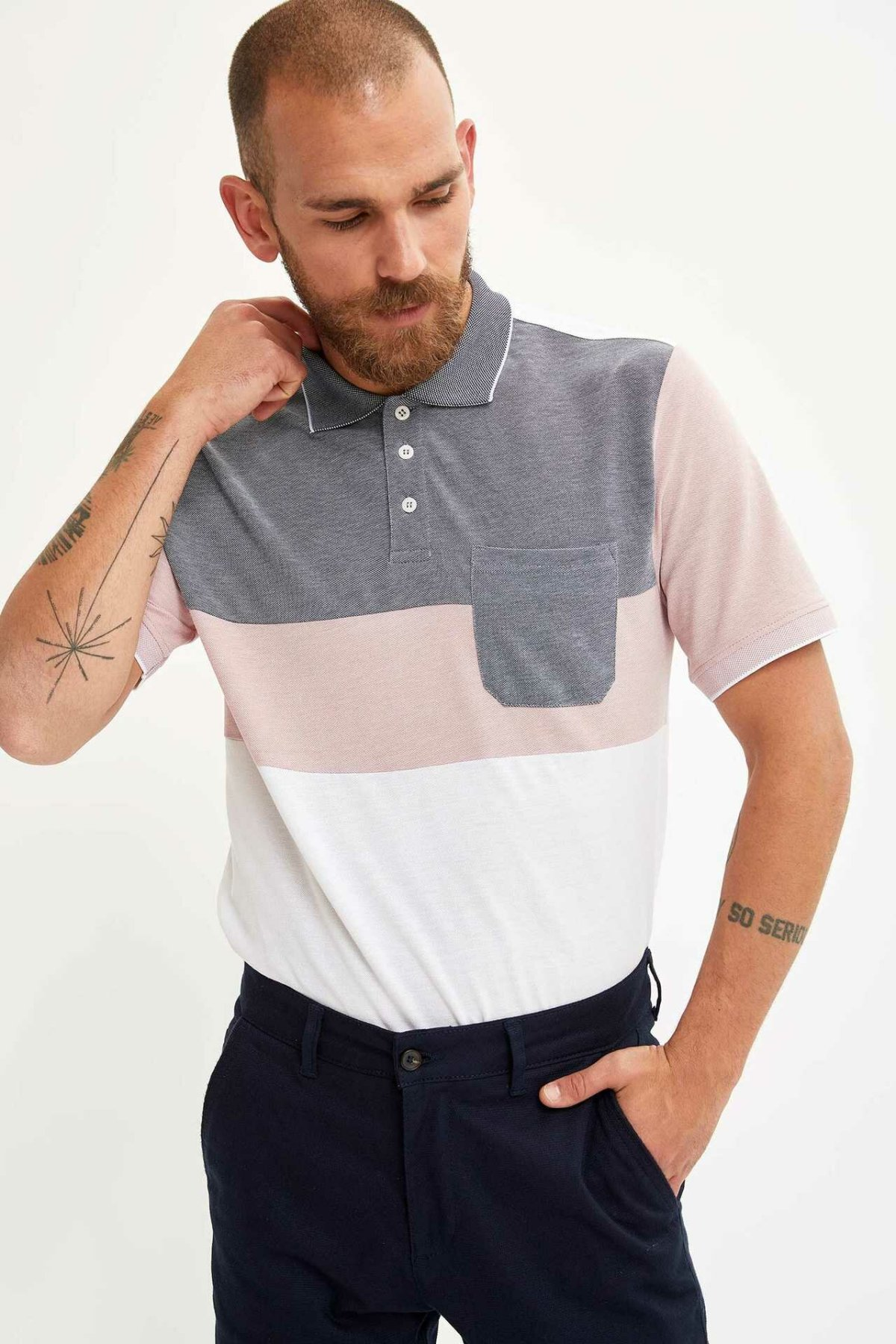 DeFacto Man Striped Polo Shirt Men Summer Short Sleeve Cotton Polo Top Shirts Male Pockets Decors Shirts-L4995AZ19SM