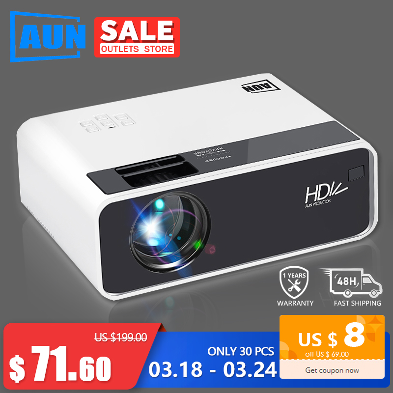 AUN HD Proiettore D60 | 1280x720 Risoluzione MINI 3D LED Video Proiettore per Full HD Home Cinema. HDMI (Opzionale Android WIFI D60S) title=