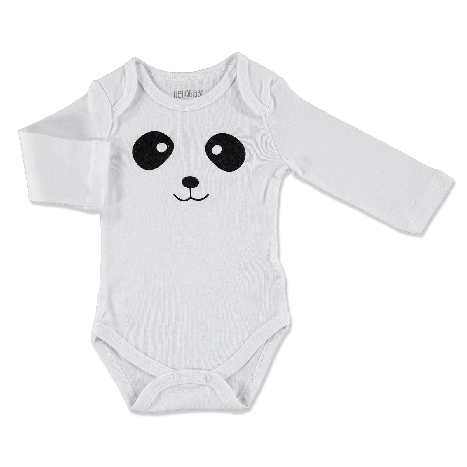 Ebebek HelloBaby Little Animals Face Printed Baby Long Sleeve Bodysuit