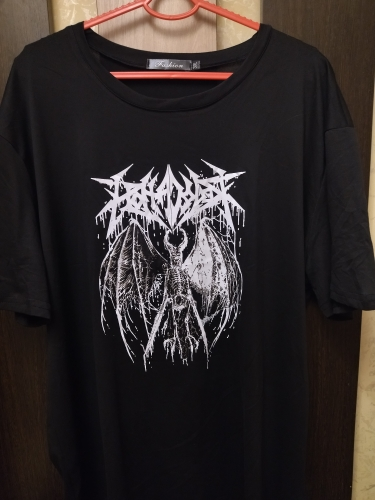 Women's T-shirt Harajuku Y2K Top Harajuku Retro Korean Style Black Demon Punk Gothic Anime Print Clothes Plus Size photo review