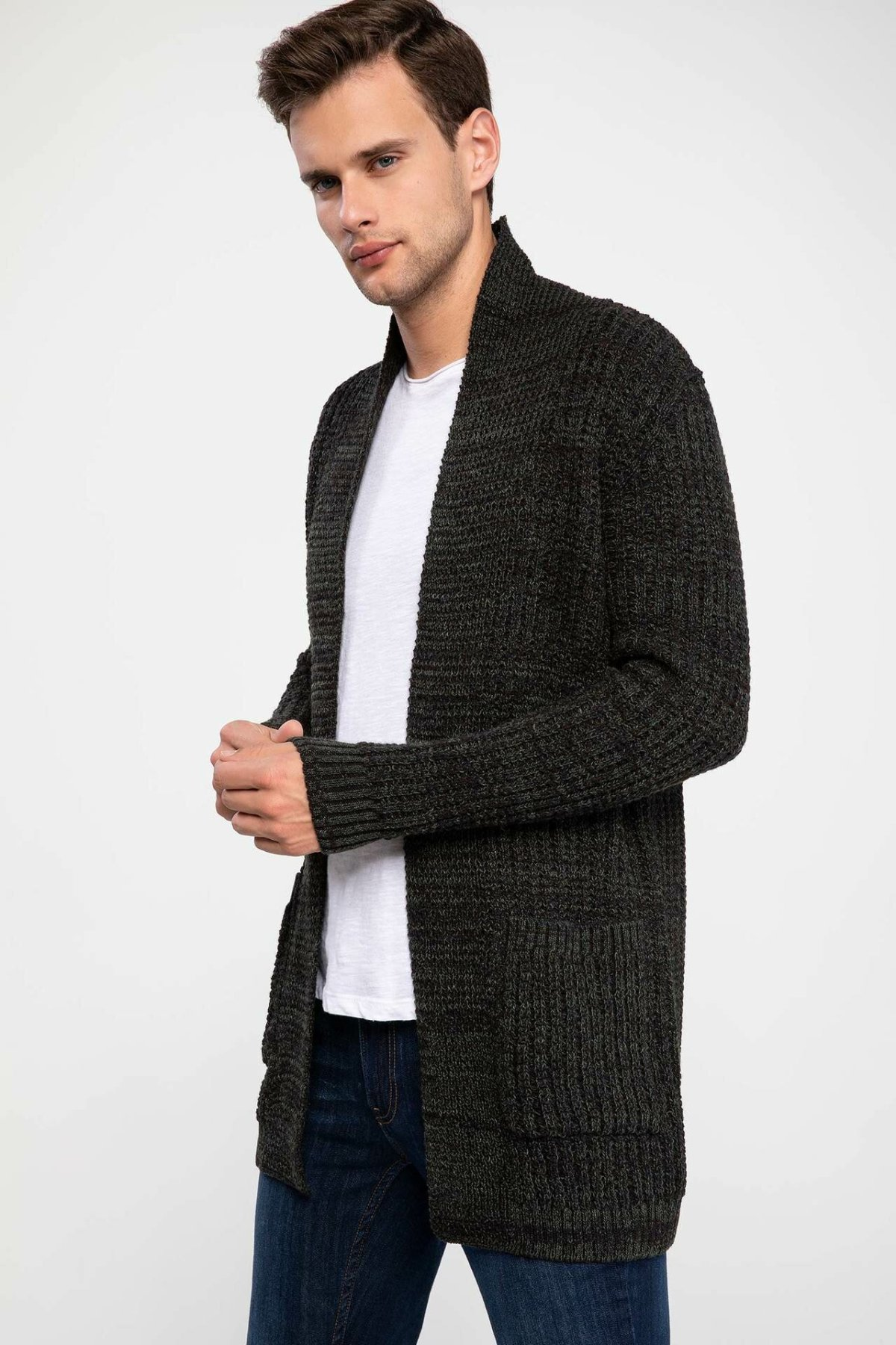 DeFacto Fashion Lapel Man Knitted Cardigan For Men's Long Sleeves Casual Warm Jackets Male Coats Autumn New - J3111AZ18AU
