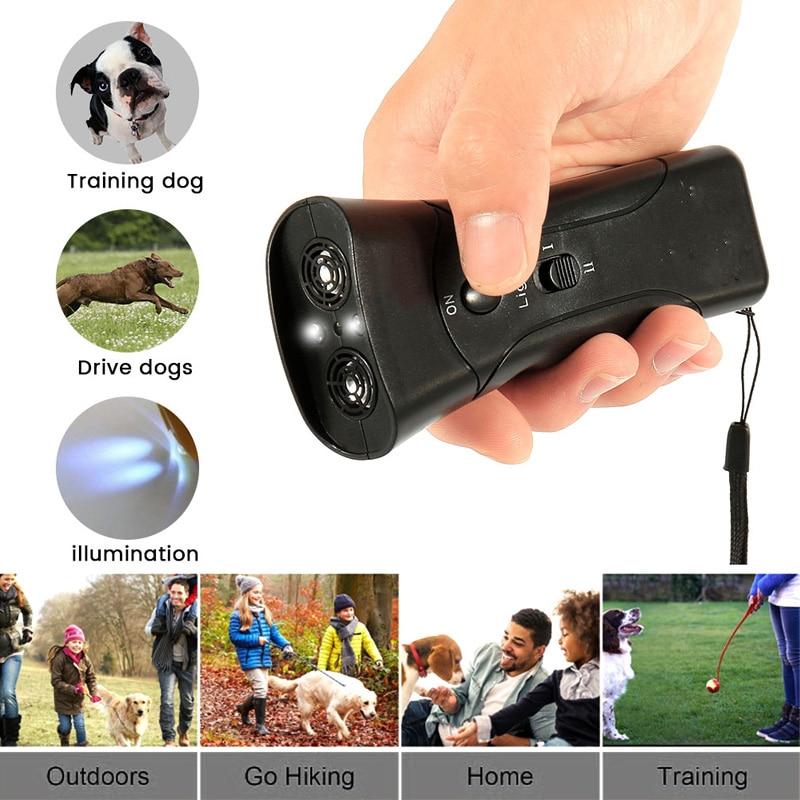 Ultrasonic Anti Dog Barking Pet Trainer LED Light Gentle Chaser Petgentle Sonic Stop Barking Control Tool