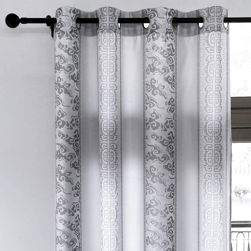 versace curtains in super soft silver gray for bedroom living room with 8 eyelets measure 140x260 cm