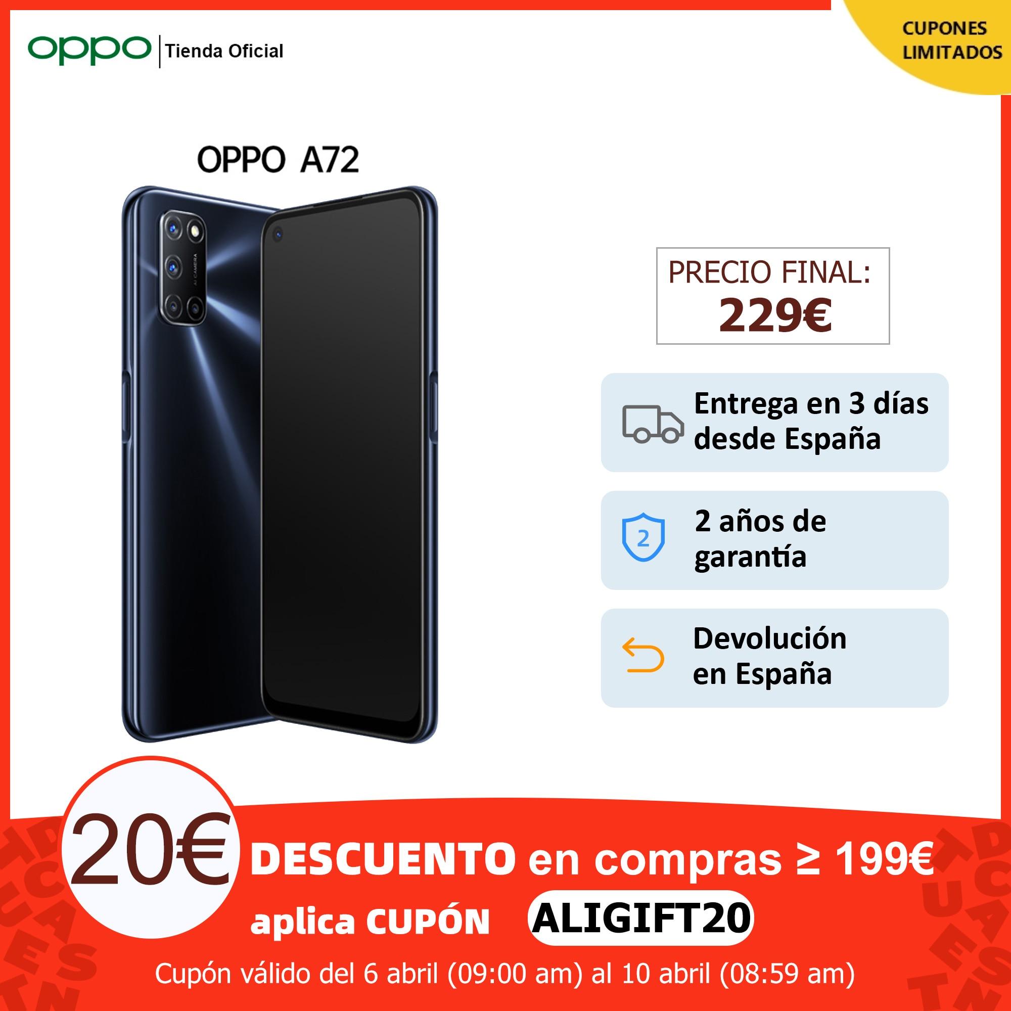 """OPPO A72 4GB/128GB, Smartphone, Pantalla 6.5"""", Altavoces Estéro Duales, Batería 5000 mAh, ColorOS 7.1, 2 Años de Garantía Teléfonos móviles  - AliExpress"""