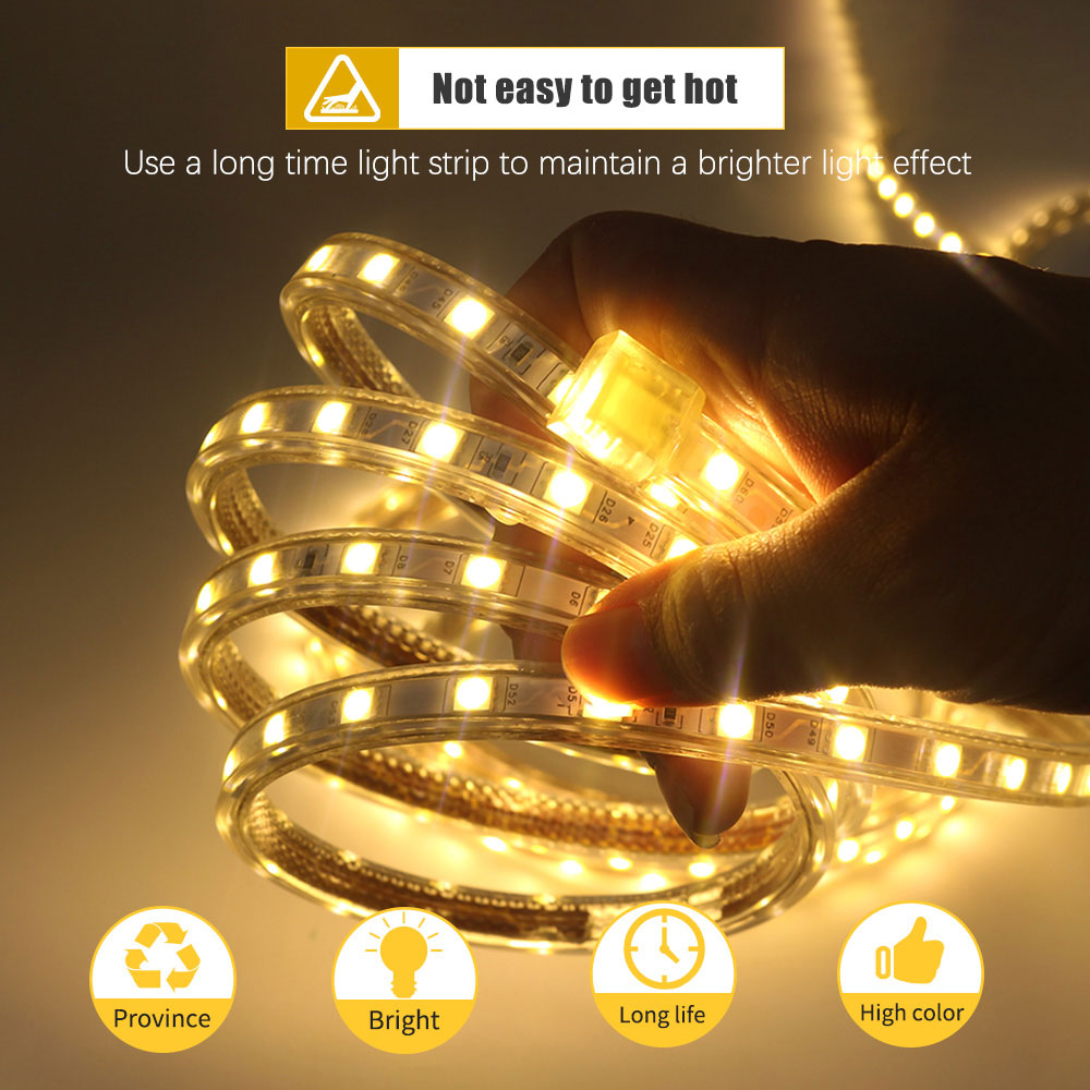 U4875ddec0c3247fc943a4d662e487a557 Waterproof SMD 5050 led tape AC220V flexible led strip 60 leds/Meter outdoor garden lighting with EU plug светодиодная лента