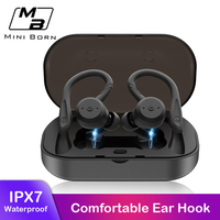 Mini Born True Wireless Earbuds Mini Bluetooth Earphone Sport Headphone IPX7 Waterproof HD Stereo Headset with Microphone