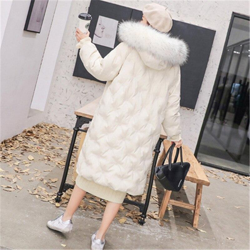 Big Fur New White Fashion Winter Women's Jacket Down Parka Female Warm Winter Coat Hooded Women Outerwear