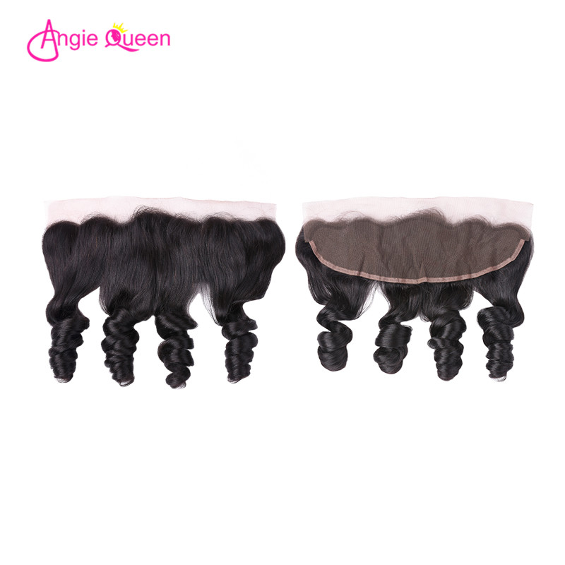 ANGIE QUEEN Brazilian Hair Frontal Loose Wave Hair Frontal Human Hair Lace Frontal Remy Hair 150% Frontal 8-20 Inch Free Part