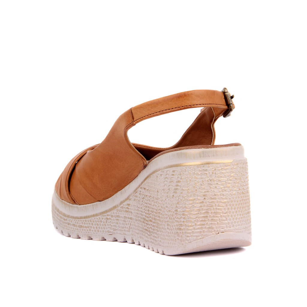 Pierre Cardin-Tan Leather Women Sandals Summer Comfortable Causal Shoes Woman Peep Toe Wedges Shoes Bottom Fashion Mother Ladies Sandals Sandalias Mujer Size 36-40 2019 New