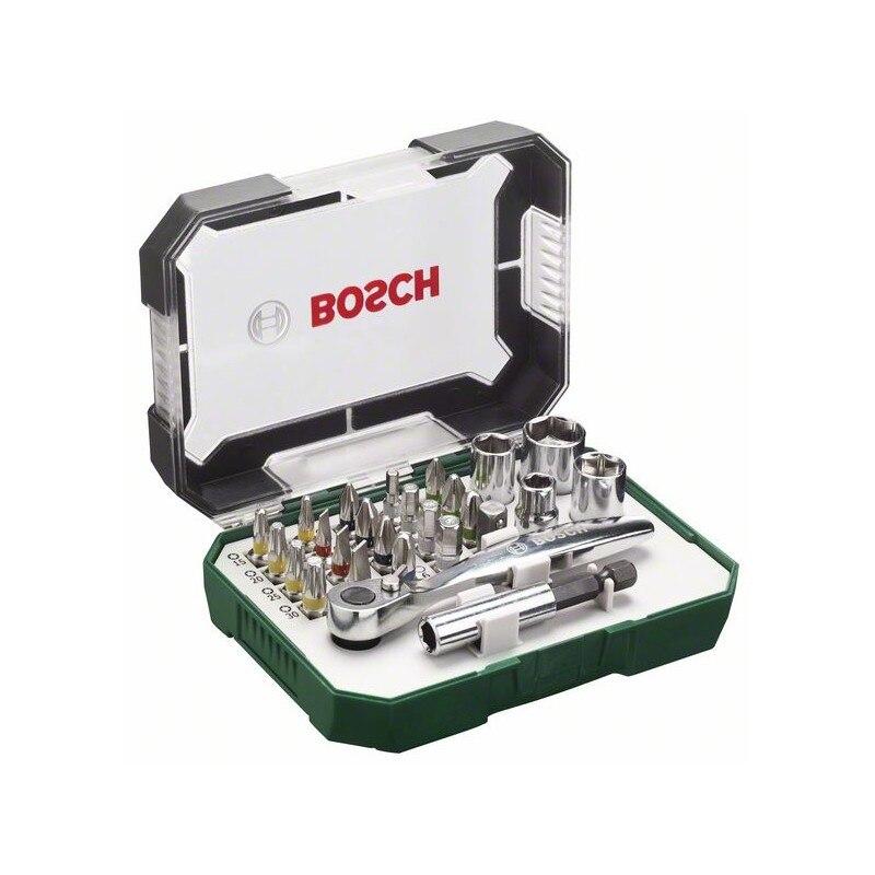 BOSCH-Set 26 Pcs Screw, Includes Pointed Glasses, Ratchet