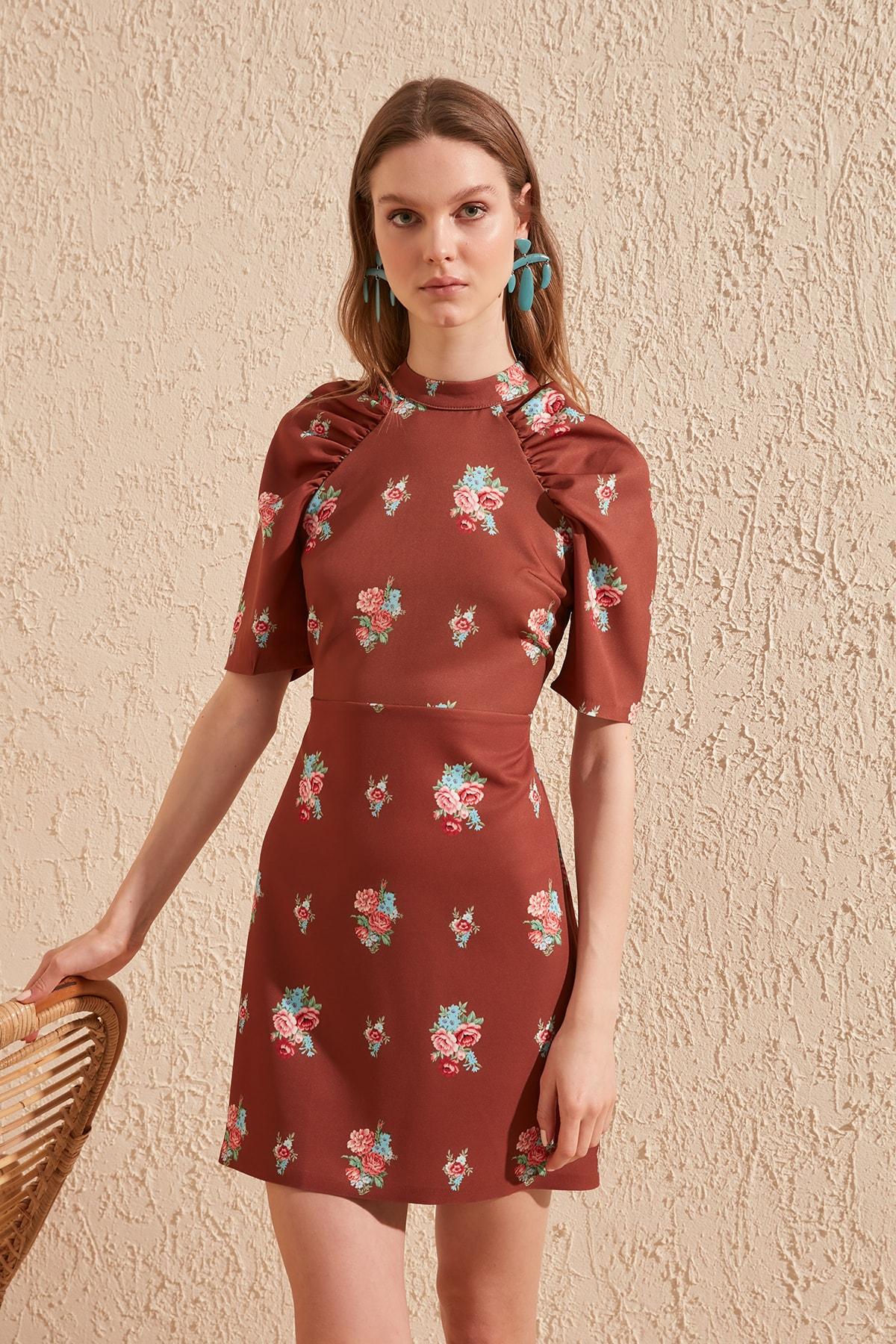 Trendyol Shirred Patterned Dress TWOSS20EL1029