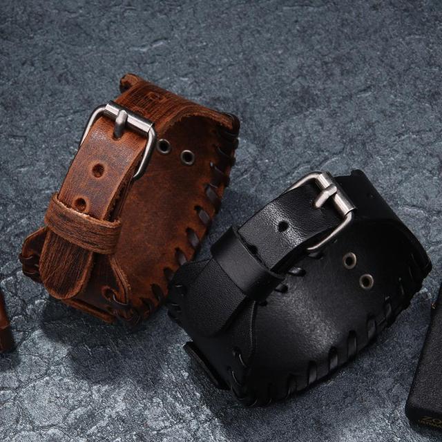 Norse Runes Vegvisir Compass Viking Bracelet Nordic Wristbands Compass Wide Leather Bangle Nordic Men Bracelet Jewelry 5