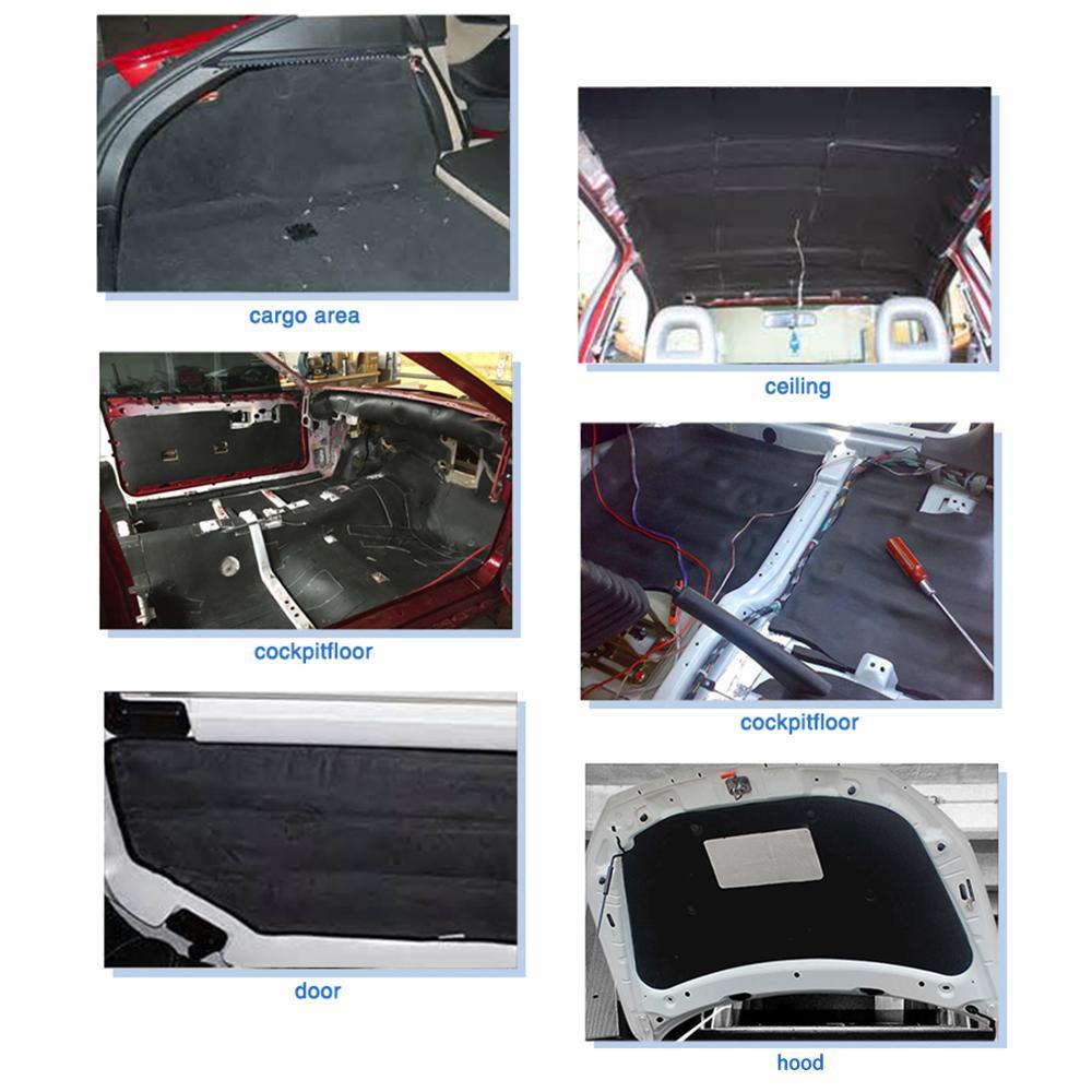 10Pcs 6mm Sound Deadener Heat Car Ceiling Door Hood Floors Trunk Sound Deadener