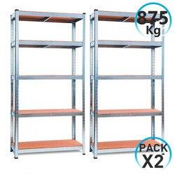 Pack 2 Moduler Étagères Galvanisé avec 5 Étagères Réglables 180x90x40cm 875Kg GH91
