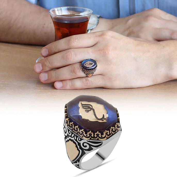 Anillo de hombre de plata 925 ámbar islámico azul de la noche hecho a mano en Turquía