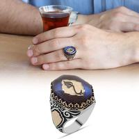 Night Blue Islamic Amber 925 Silver Man Ring Made in Turkey Hand Made