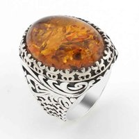 Large Oval Amber Gemstone Mens Silver Ring